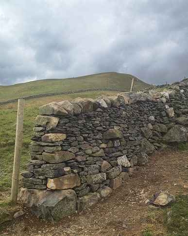 wall end build in Pennine slate near Dufton, Cumbria