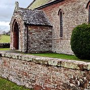 conservation repair to 19th Century sandstone church wall - St John's, Murton, Appleby, Cumbria