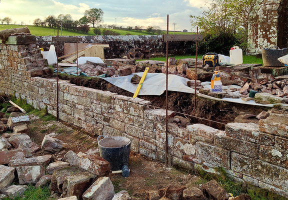 reconstruction of barn wall to test use of hot-mixed lime mortar in exposed locations - Dufton, near Appleby, Cumbria.