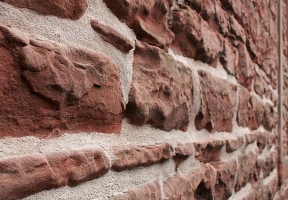 lime mortar used on eroding sandstone wall