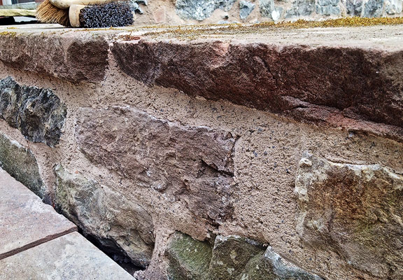 lime mortar pointing scraped back after initial firming up