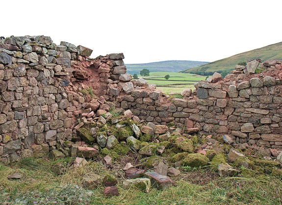 reconstruction of a traditional barn wall near Appleby, Cumbria.